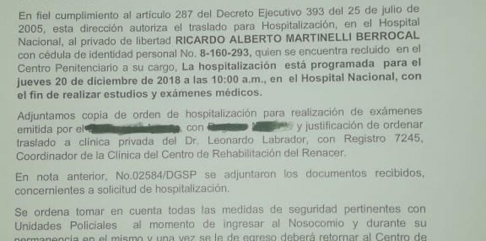 Exprimera dama denuncia traslado abrupto de Martinelli al Hospital Santo Tomás