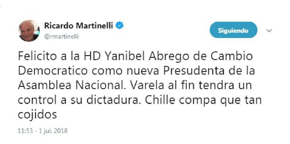 Ricardo Martinelli felicita a Yanibel Ábrego por su reelección