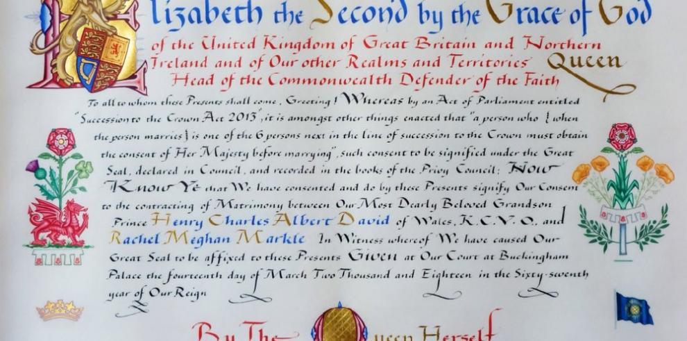 El Palacio difunde el documento real que autoriza la boda de Enrique y Meghan