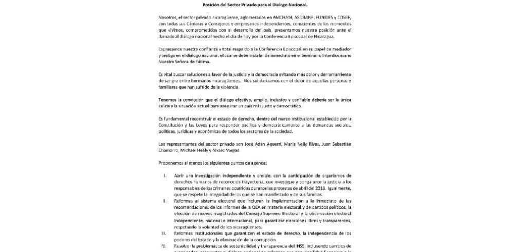 Sector privado pide instalación inmediata de diálogo en Nicaragua