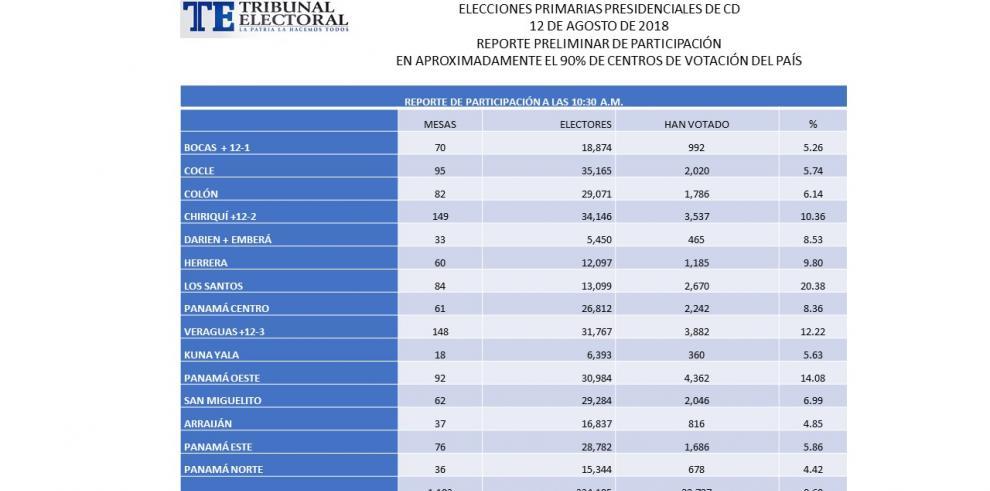TE reporta una participación en las primarias del CD por el 8.6%