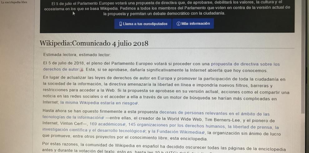 Wikipedias apagadas hoy en contra directiva UE