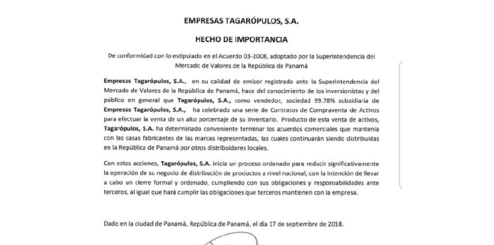 Centenaria Tagarópulos, S.A. anuncia el cese de operaciones