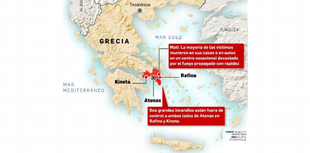 Devastador incendio en Grecia se cobra 74 víctimas