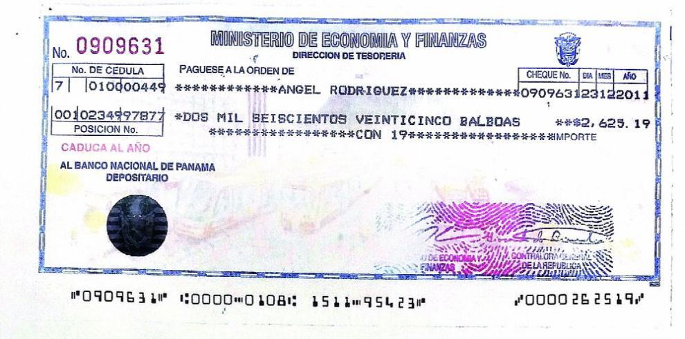 Cheques de la planilla 001, vinculados a diputado De Icaza