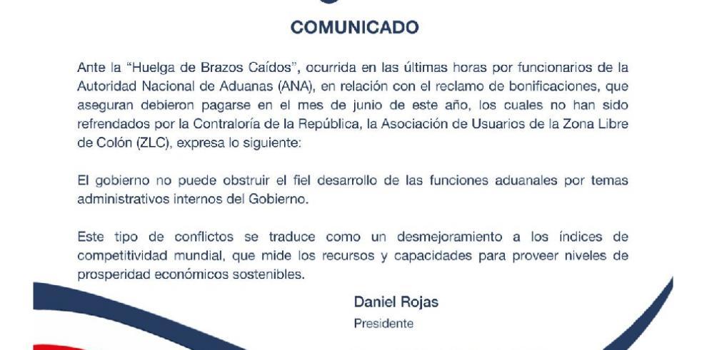 Asociación de Usuarios de la ZLC pide al Gobierno no obstruir funciones aduanales