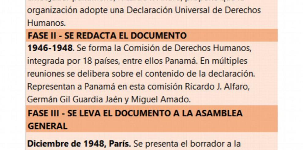 Declaración de los Derechos Humanos, una propuesta panameña