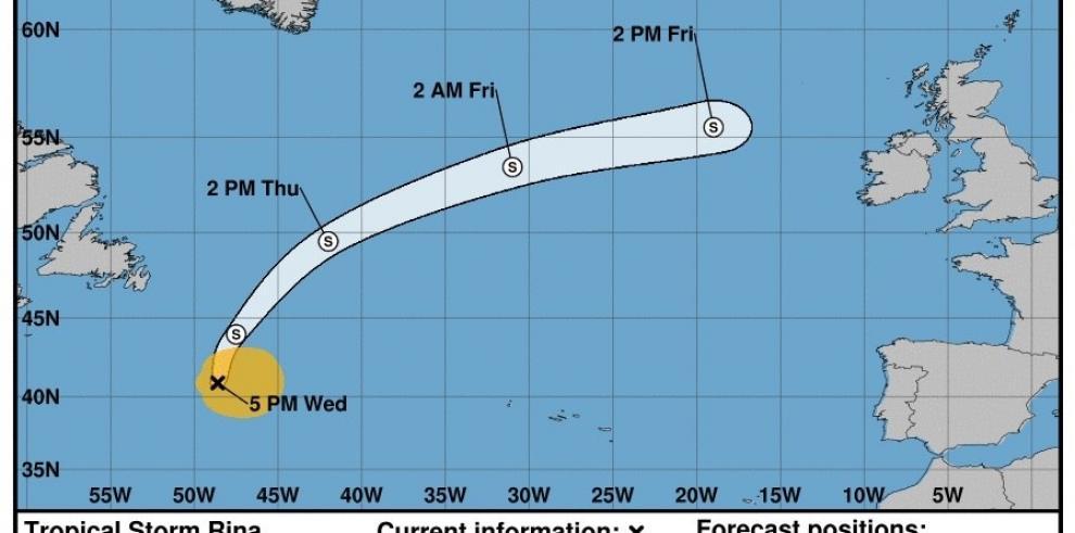 La tormenta tropical Rina se debilita en el Atlántico norte