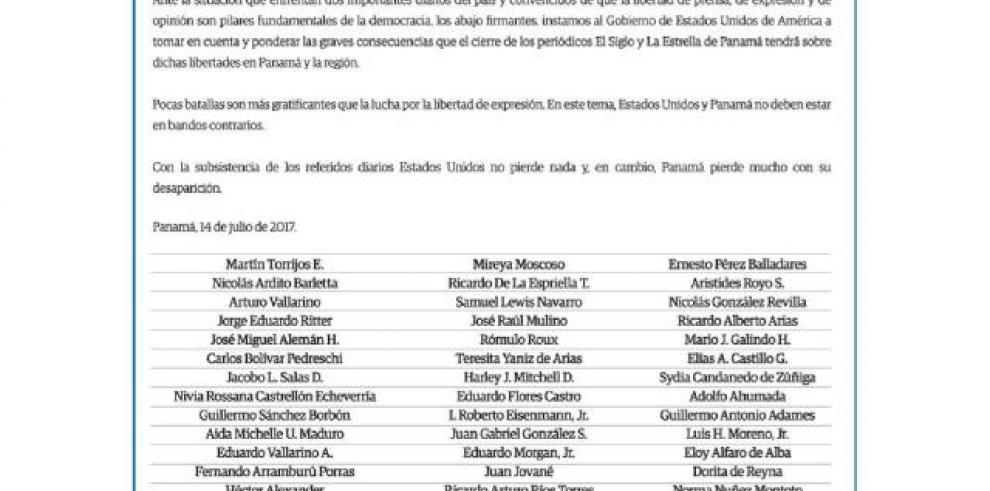 National unity call to back El Siglo and La Estrella de Panamá against US sanctions