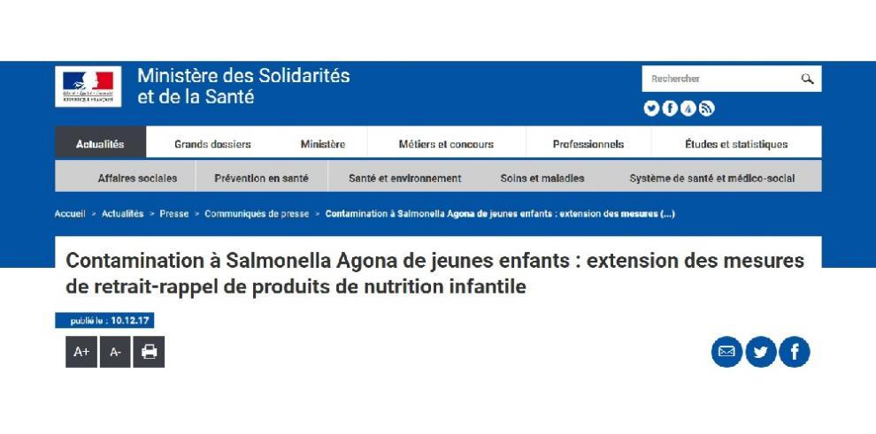 Francia retira más productos de alimentación infantil por casos de salmonela