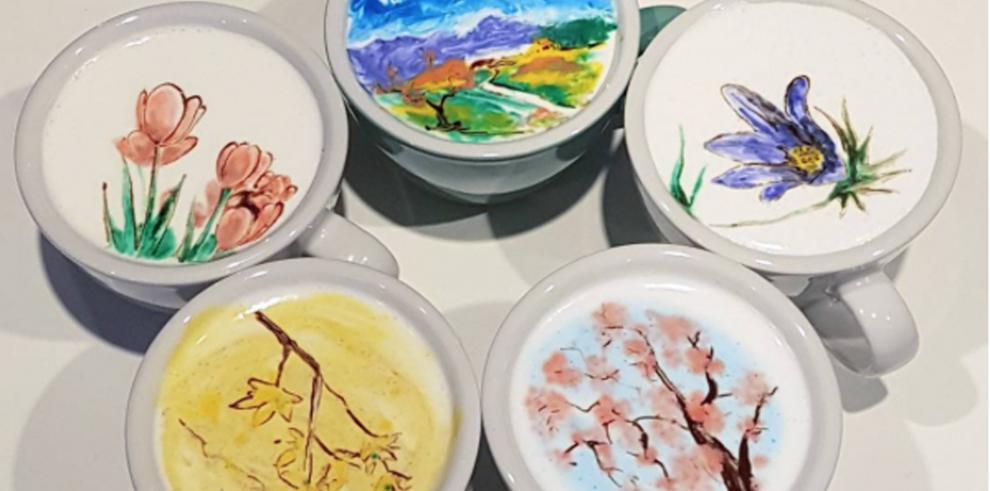 Barista crea obras de arte en los cafés