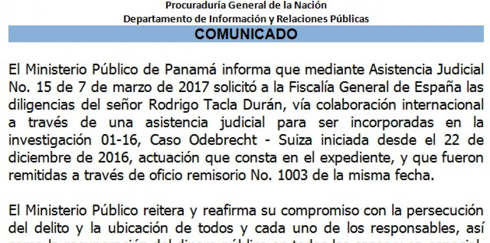 El MP se pronuncia sobre el Caso Odebrecht por las declaraciones de Tacla