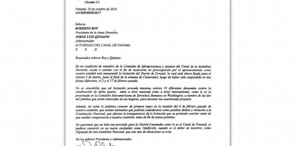ACP no da marcha atrás y prosigue con licitación de Corozal