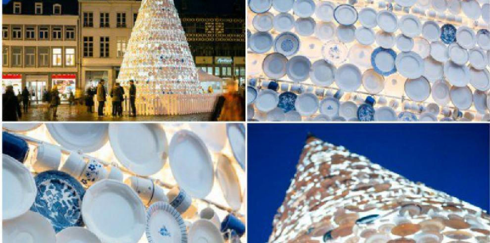 Oporto luce un árbol de Navidad de 5 metros elaborado con platos de cerámica
