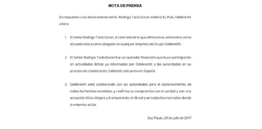 Odebrecht recalca que colabora con autoridades en investigación de su operación