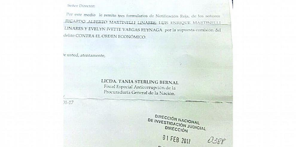 Fiscalía gira boleta roja contra hijos de Ricardo Martinelli
