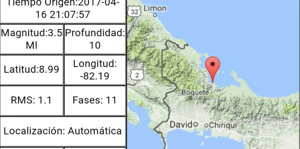 Sismo de magnitud 3,5 en Bocas del Toro