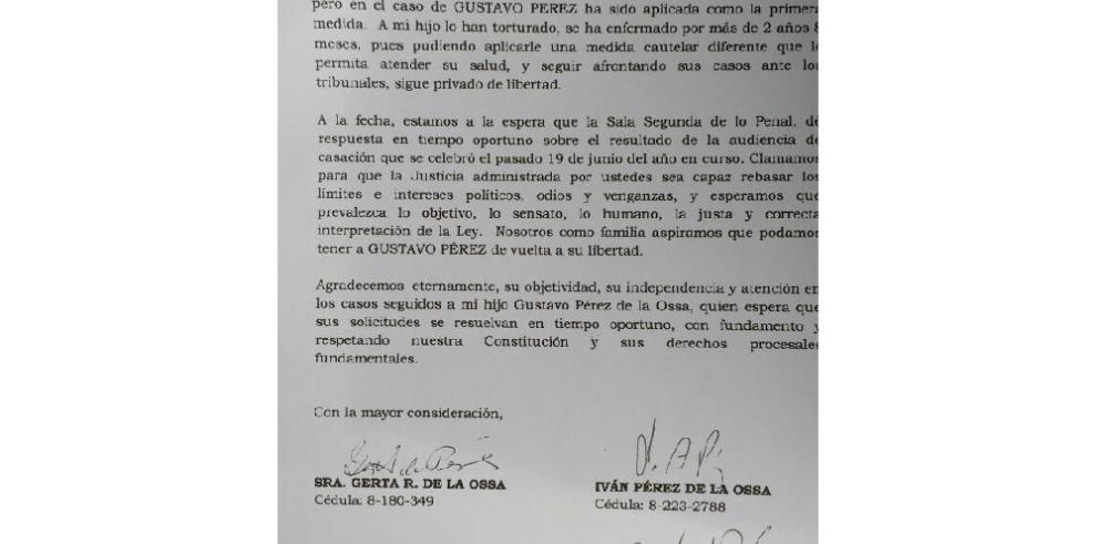 Madre de Gustavo Pérez pide la libertad de su hijo