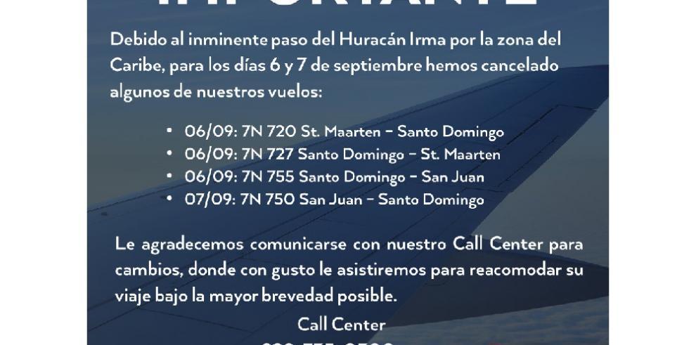Pawa Dominicana cancela vuelos por inminente paso de huracán Irma por Caribe