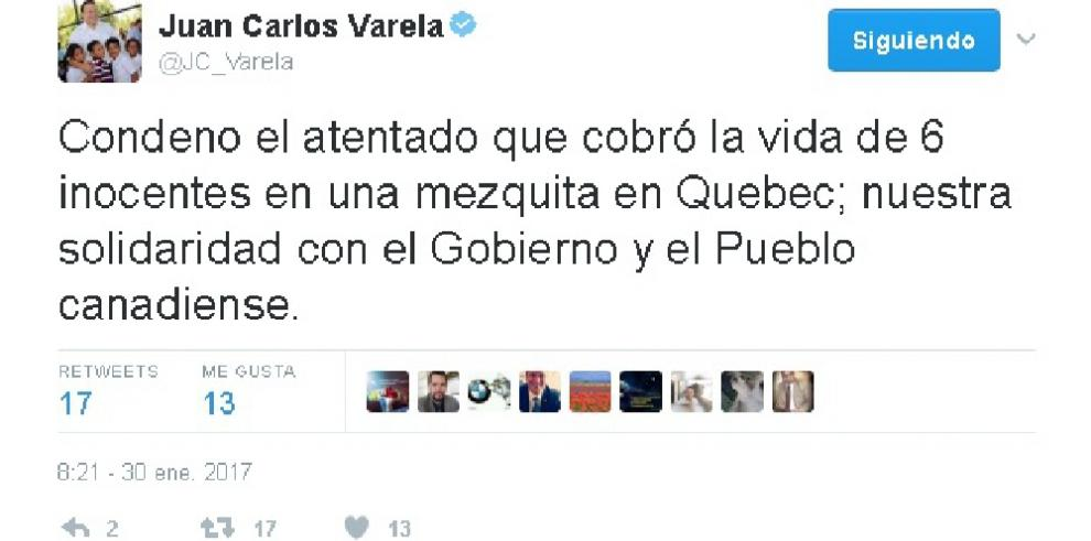Presidente Varela condena atentado en mezquita de Quebec