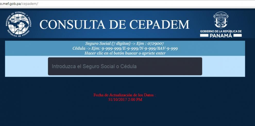 A partir del lunes MEF habilita web para informar sobre pago de CEPADEM