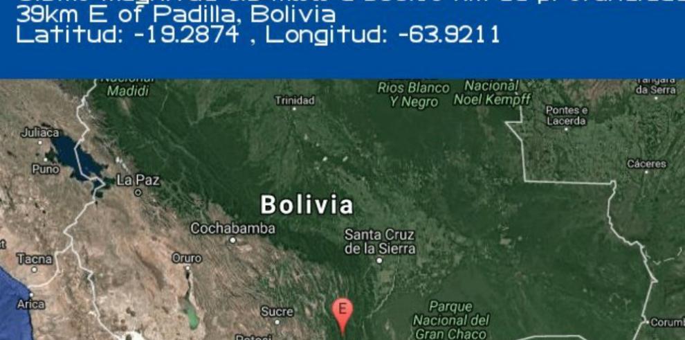 Sismo de 6.5 sacude a Bolivia