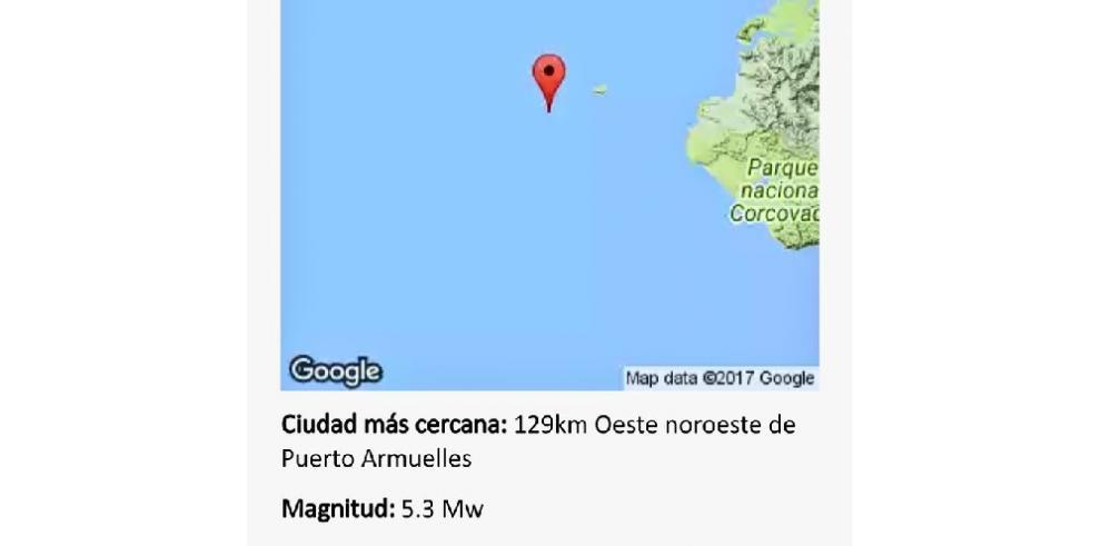 Sismo de 5.3 grados en Puerto Armuelles