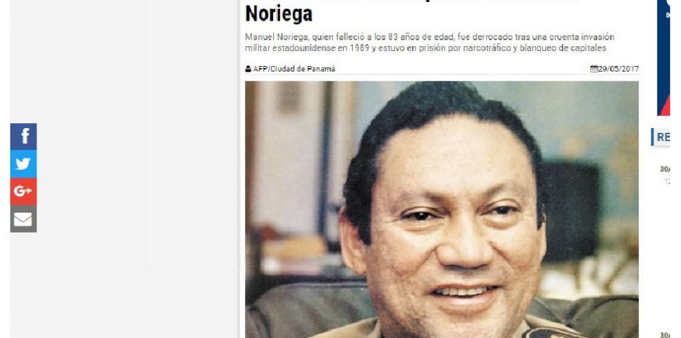 Así registró la prensa internacional la muerte de Noriega