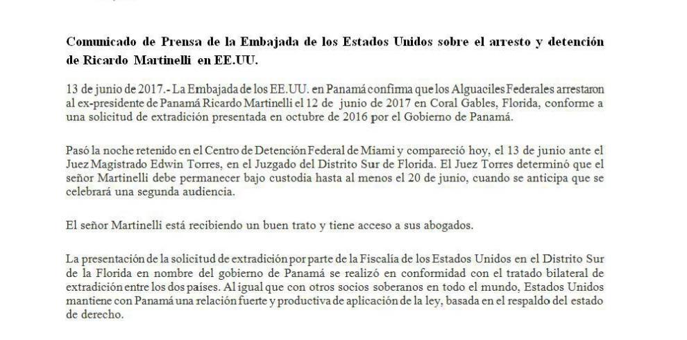 Comunicado de la Embajada de EEUU sobre la detención de Ricardo Martinelli