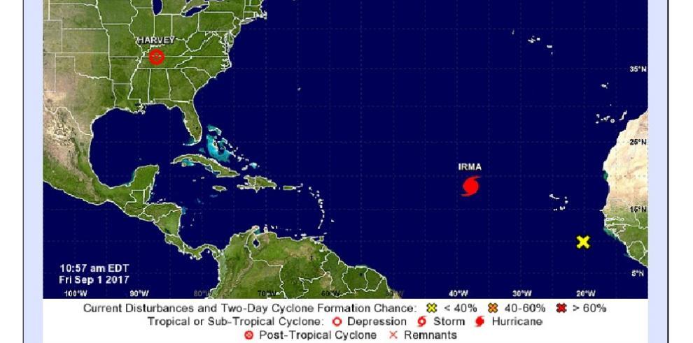 El huracán Irma baja a categoría 2 durante su ruta hacia el Caribe