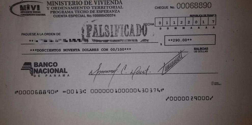 Miviot advierte sobre circulación de cheques falsos
