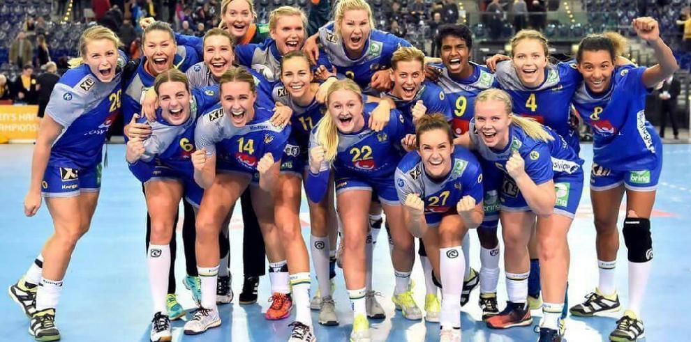 Así celebró su clasificación la selección femenina de balonmano de Suecia