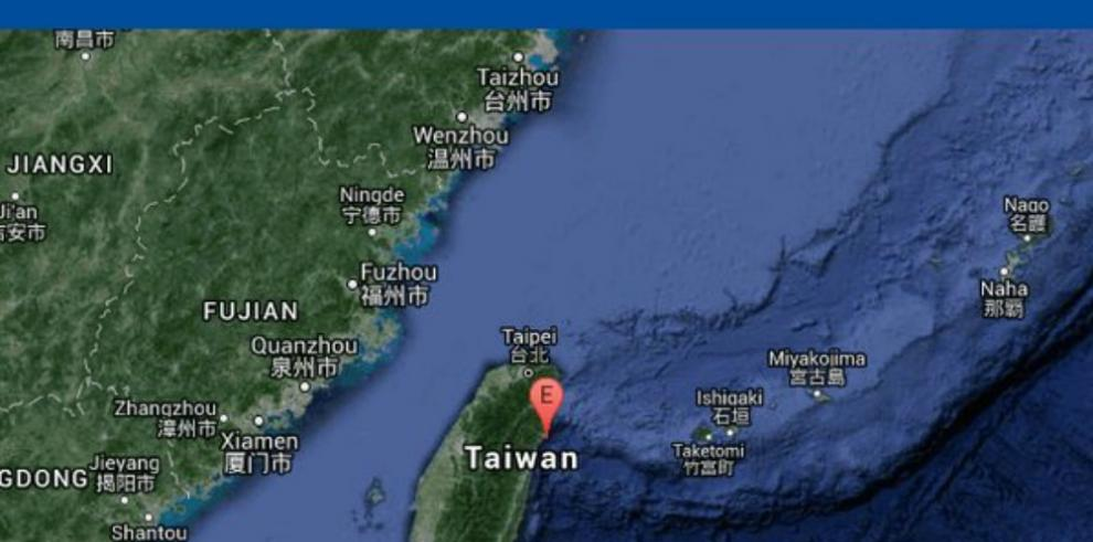 Sismo de 5,6 ocurre frente a costas de Taiwán