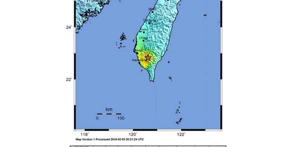 Sismo de 6,4 grados de magnitud sacude el sur de Taiwán