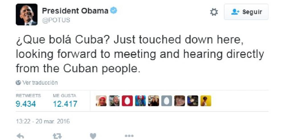 ¿Qué bolá, Cuba?, el tuit de Obama al aterrizar en La Habana
