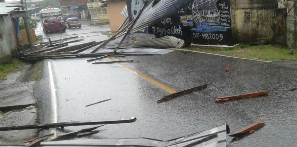 Desprendimiento de techos y árboles derribados dejó la fuerte lluvia