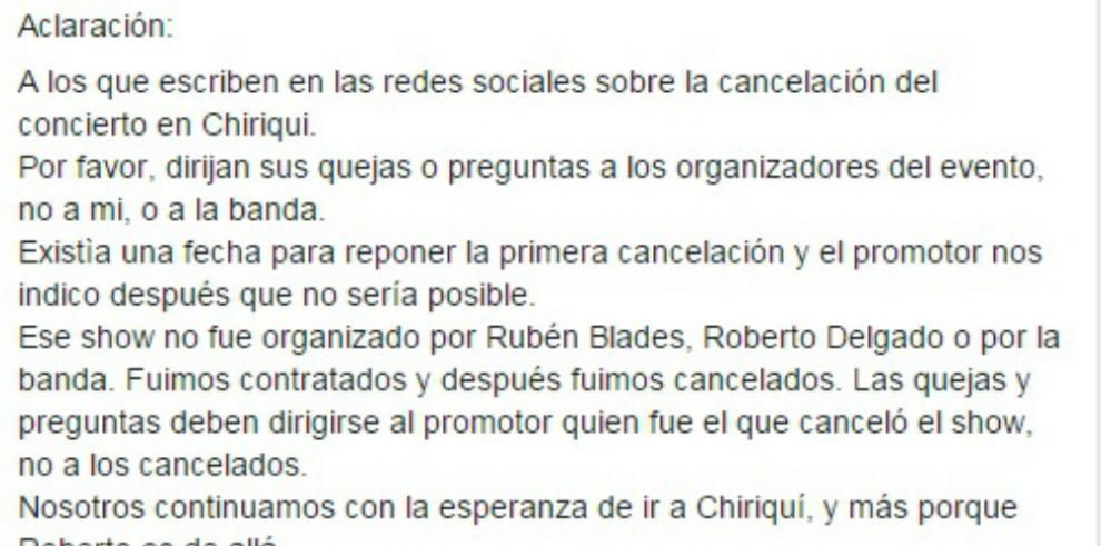 Rubén Blades aclara cancelación de concierto en Chiriquí
