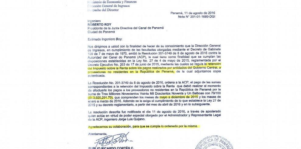 DGI reclama $4 millones a la ACP en impuestos no retenidos