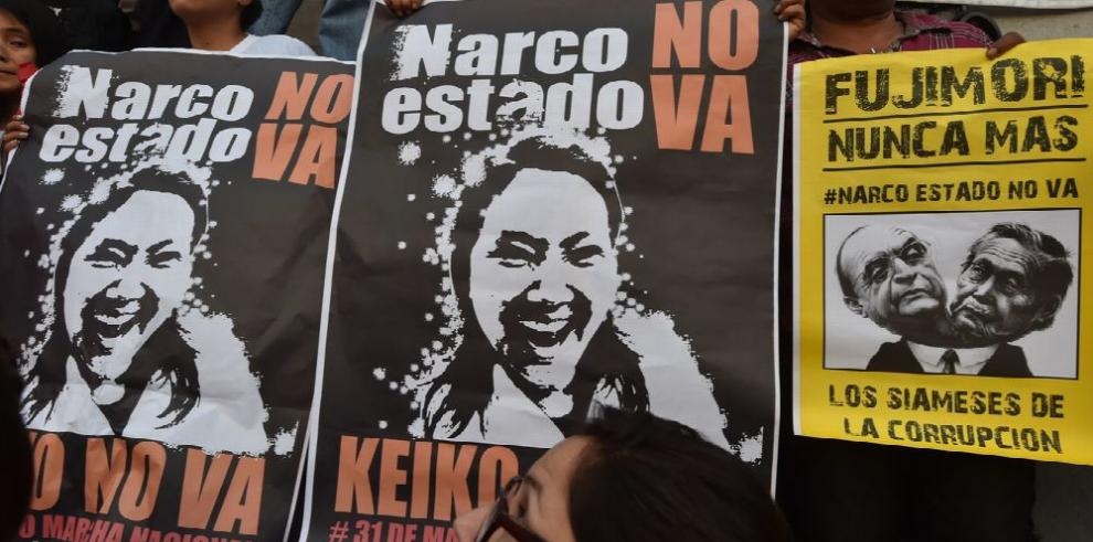 Marcha en rechazo de la candidata Keiko Fujimori