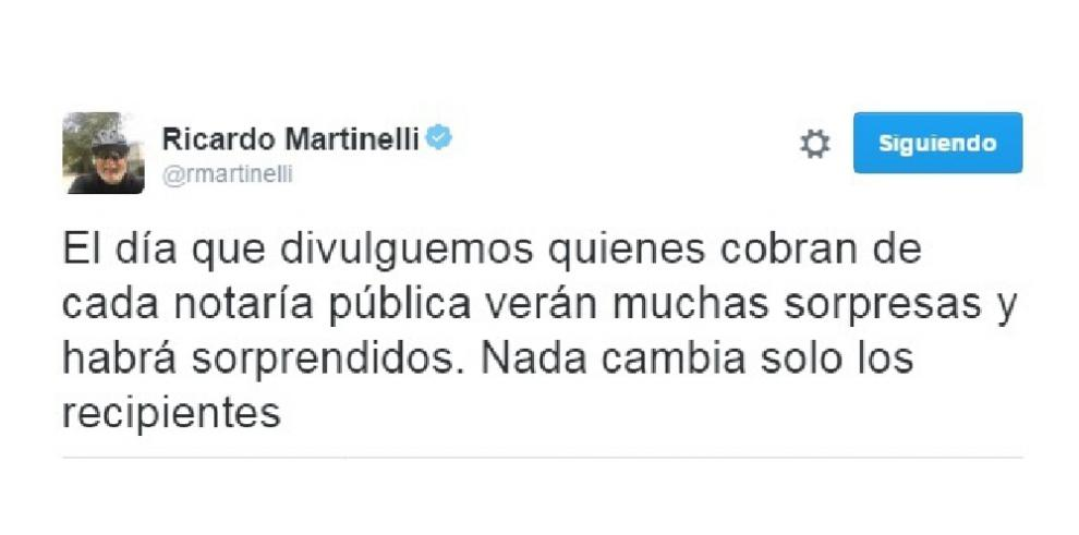 Martinelli hace acusasiones en Twitter