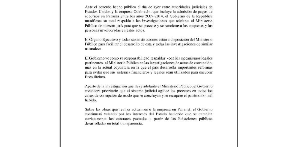 Gobierno se pronuncia por el caso de Odebrecht