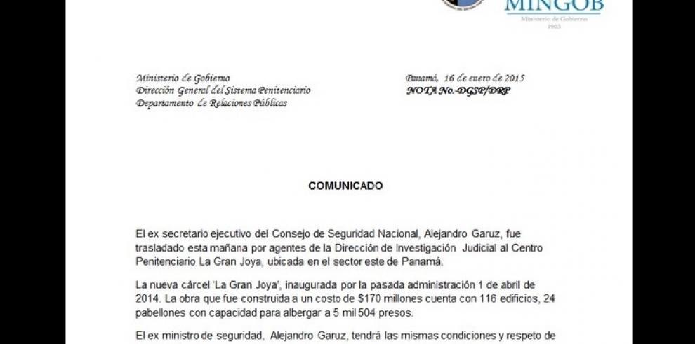 Defensa de Garuz tomará acciones legales por traslado a La Gran Joya