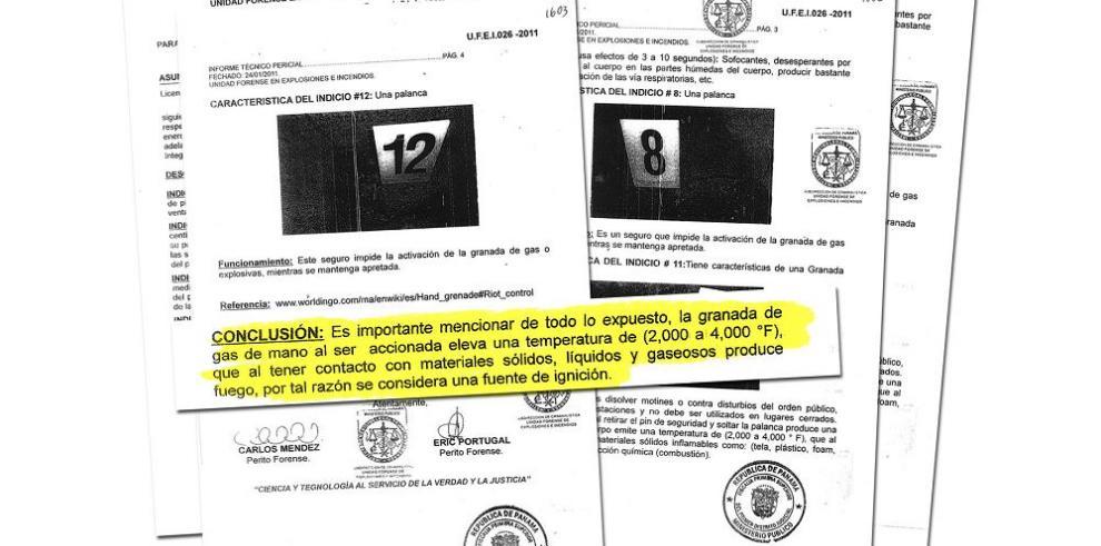 """""""La granada de gas es una fuente de ignición"""": Peritos forenses"""