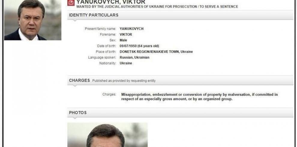 Interpol inicia búsqueda del ex presidente de Ucrania Yanukóvich