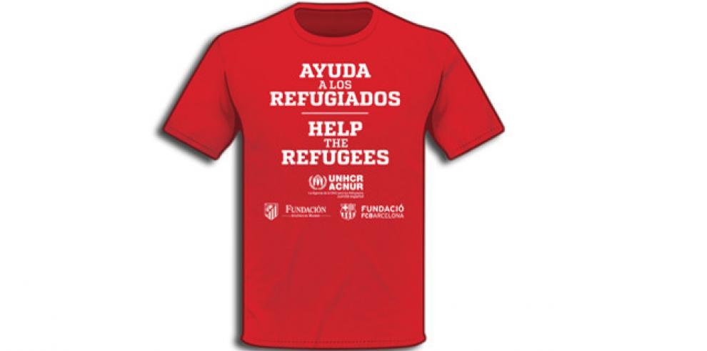 Atlético y Barcelona exhiben camisetas en favor de refugiados