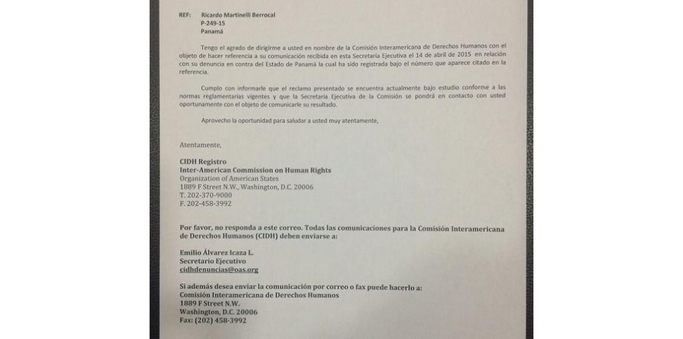 Es falso que CIDH haya admitido demanda de Martinelli, Cochez