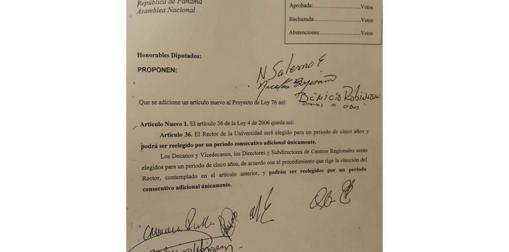 Diputados proponen reelección de autoridades en la UNACHI