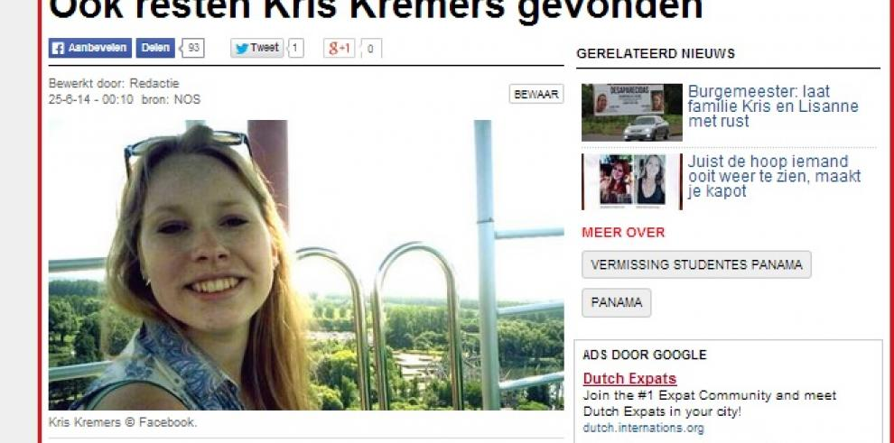 Prueba de ADN pertenecen a Kris Kremers, indican medios holandeses