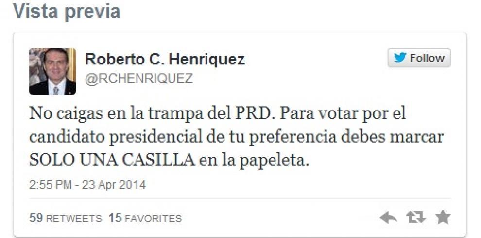 Henríquez denuncia que PRD promueve marcar las dos casillas de Arias