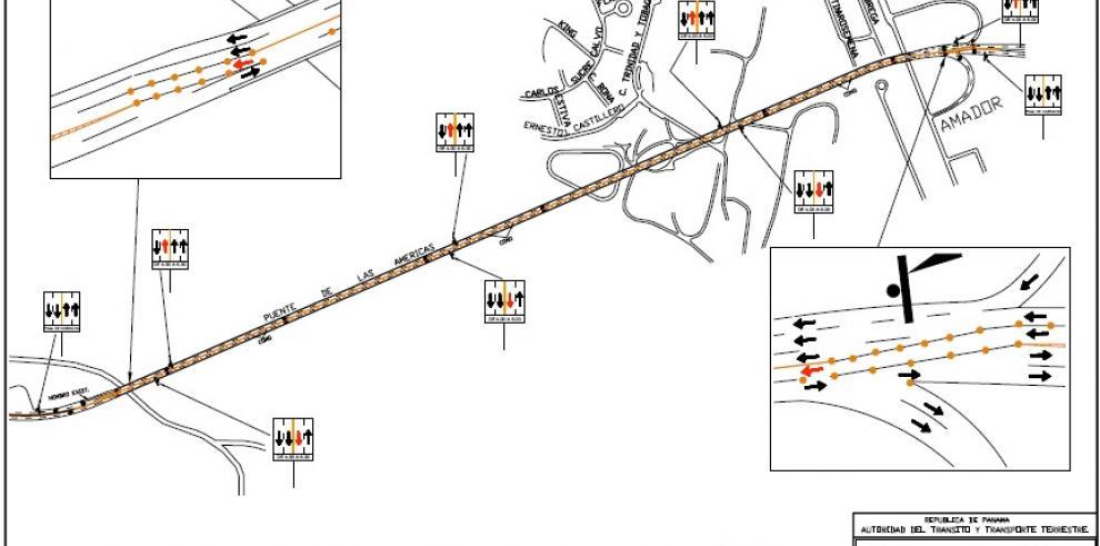 Mañana habrá inversión de vía en el puente de las Américas